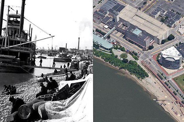 Evansville Riverfront - Then and Now
