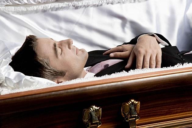 Man in casket