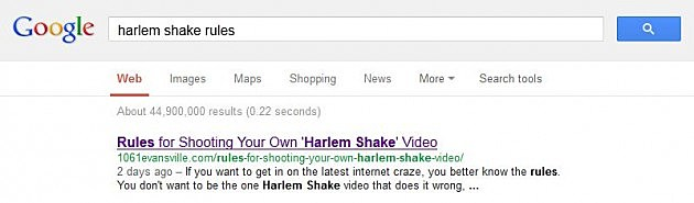 Harlem Shake Rules Google Search Screen Capture