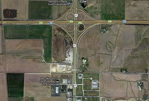 Intersection of Highway 41 & Interstate 64 in Northern Vanderburgh County