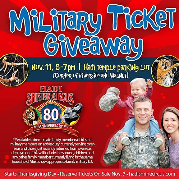 80th Annual Hadi Shrine Circus Military Ticket Giveaway Flyer
