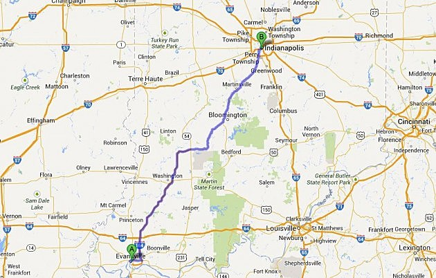 Evansville to Indianapolis via I-69
