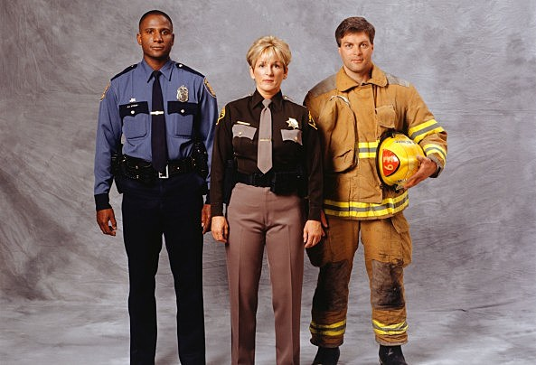 Police Officer, fire-fighter and sheriff, (Portrait)