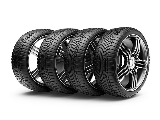 Automobile tire. 3D illustration isolated