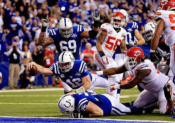 Andrew Luck dives for the touchdown during the Wild Card game against the Kansas City Chiefs