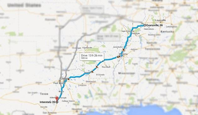 Evansville to Austin, TX Map
