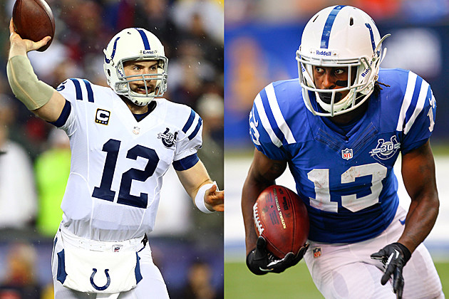 Indianapolis Colts Andrew Luck & T.Y. Hilton Compete for Madden 15 Cover