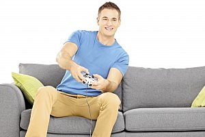 Man Playing Video Game