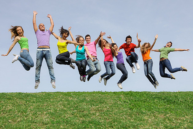 group of kids jumping