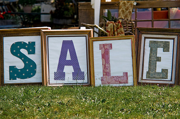 Sale sign for flea market