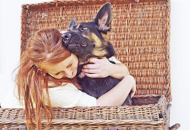 women and dog puppy emotion humor love friendship german shepherd
